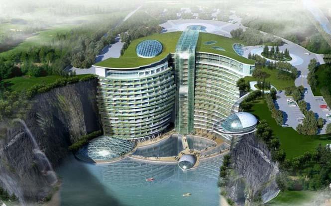 πεντάστερο ξενοδοχείο που χτίζεται μέσα σε λατομείο