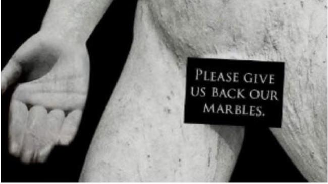 προκλητικό μήνυμα για τα Μάρμαρα δίπλα στο Βρετανικό Μουσείο